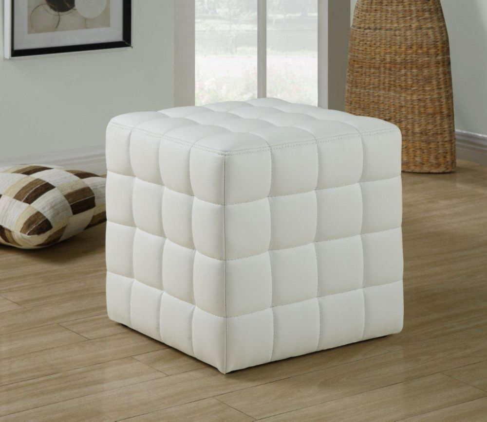 monarch specialties pouf simili cuir blanc home depot. Black Bedroom Furniture Sets. Home Design Ideas