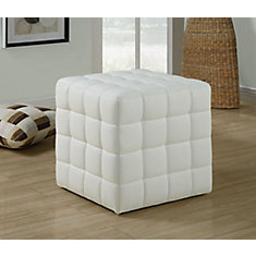 Tufted Leather-Look Ottoman in White