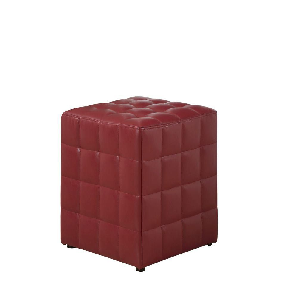 monarch specialties pouf simili cuir rouge home depot. Black Bedroom Furniture Sets. Home Design Ideas