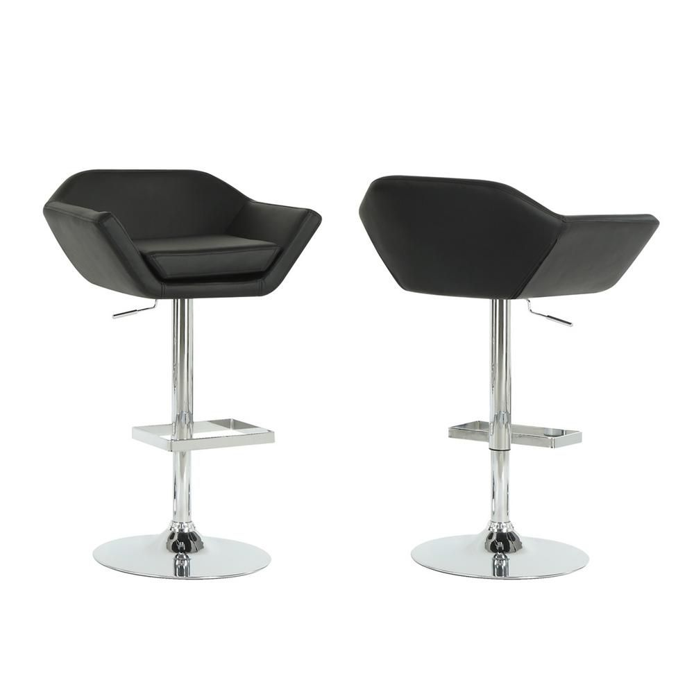 Tabouret De Bar - 2Pcs / Noir / Chrome