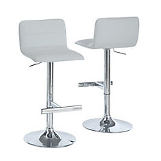 Leather Metal Chrome Contemporary Low Back Armless Bar Stool With White Faux Seat Set Of 2