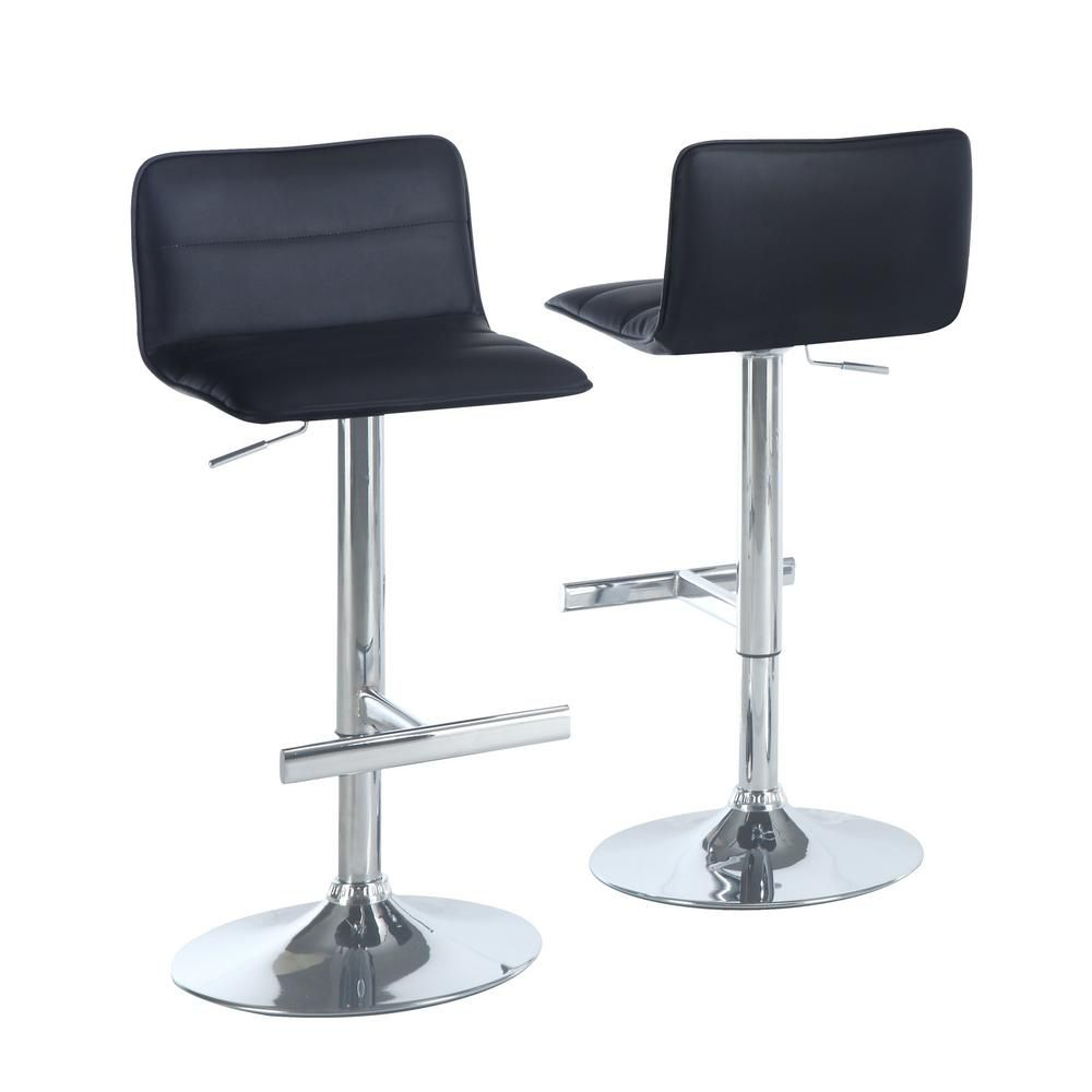 Tabouret De Bar - 2Pcs / Noir / Chrome Hydraulique