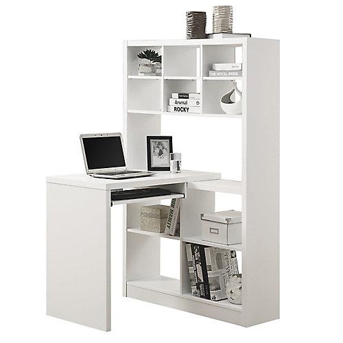 Adjustable Corner Desk with Shelving in White
