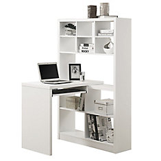 Adjustable Corner Desk With Shelving In White