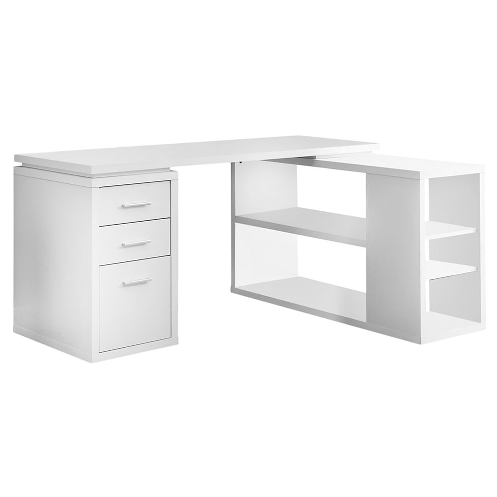 Monarch Specialties 60 Inch L Adjustable L Shaped Desk With Storage In White
