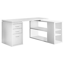 Monarch Specialties 60-inch L Adjustable L-Shaped Desk with Storage in White