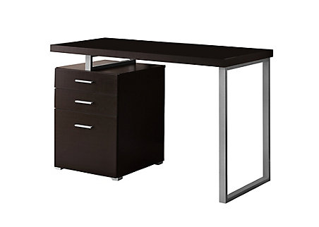 Monarch Specialties 48 Inch W 3 Drawer Reversible Computer Desk In Cappuccino The Home Depot Canada