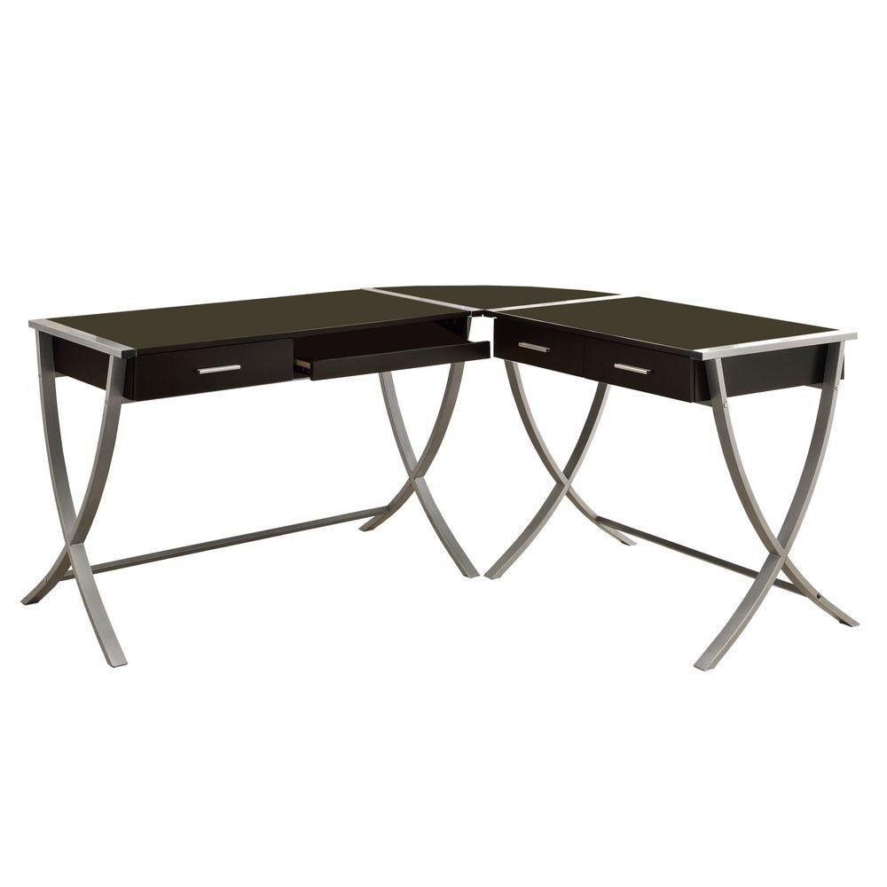 Computer Desk - 3Pcs Set / Cappuccino / Silver Corner