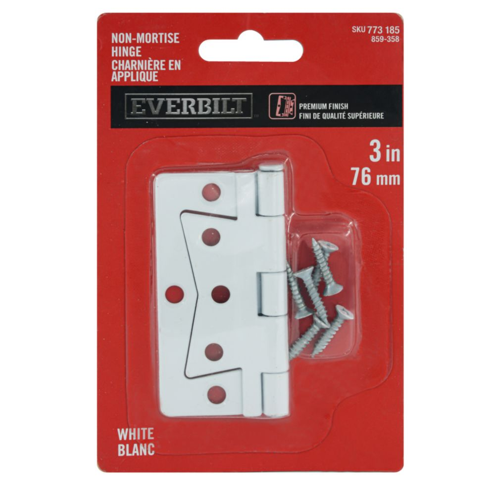 3 Inch  White Non Mortise Hinge