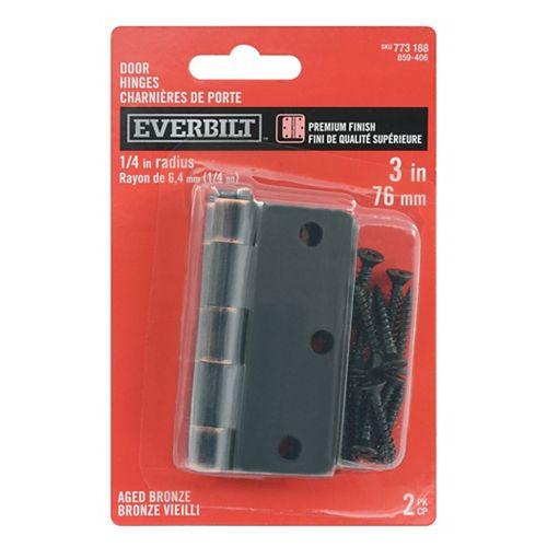 Everbilt 3-inch Aged Bronze 1/4rd Door Hinge (2-Pack)