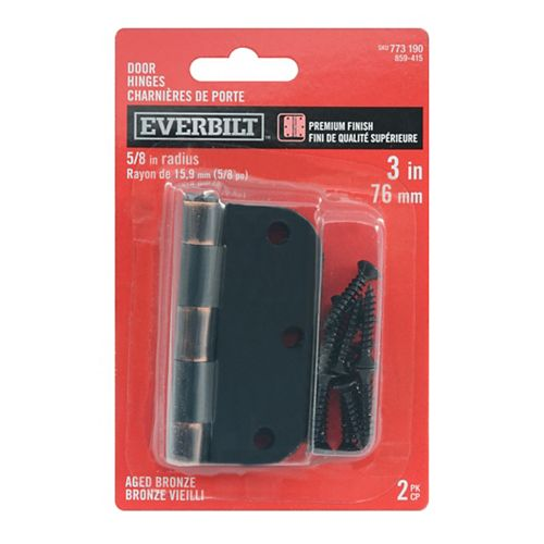 Everbilt 3-inch Aged Bronze 5/8rd Door Hinge (2-Pack)