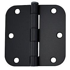 3 1/2-inch Iron Black 5/8rd Door Hinge (2 Pack)