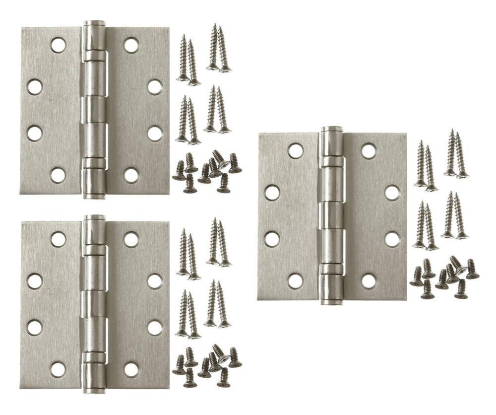Everbilt 4-1/2 Inch X4 Inch  Satin Nickel Comm Hinge 3pk