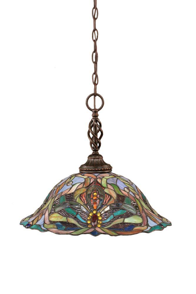 Concord 1 lumière au plafond granite foncé Pendeloque à incandescence avec Kaleidoscope Le verre ...