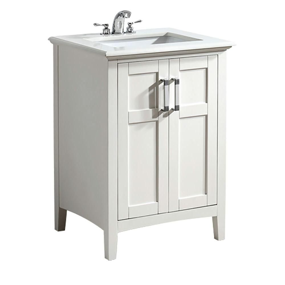 Winston 24-inch W Vanity in White Finish with Marble Top in White Quartz