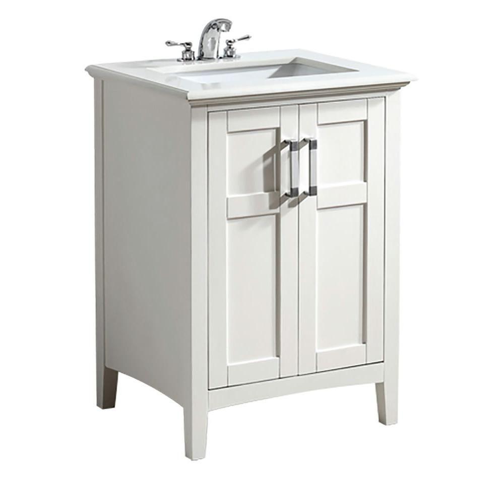 Simpli Home Winston 25-inch W 2-Door Freestanding Vanity in White With Quartz Top in White