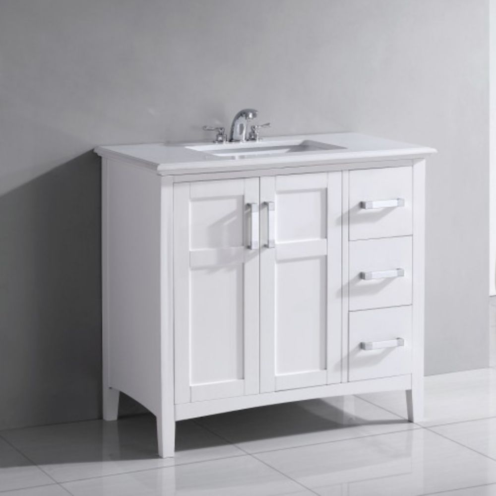 Winston 36-inch W Vanity in White Finish with Quartz Marble Top in White
