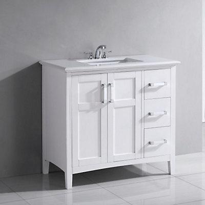 Simpli Home Winston Inch W Drawer Door Freestanding Vanity In - Freestanding 36 inch bathroom vanity