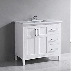 Winston 37-inch W 3-Drawer 2-Door Freestanding Vanity in White With Quartz Top in White