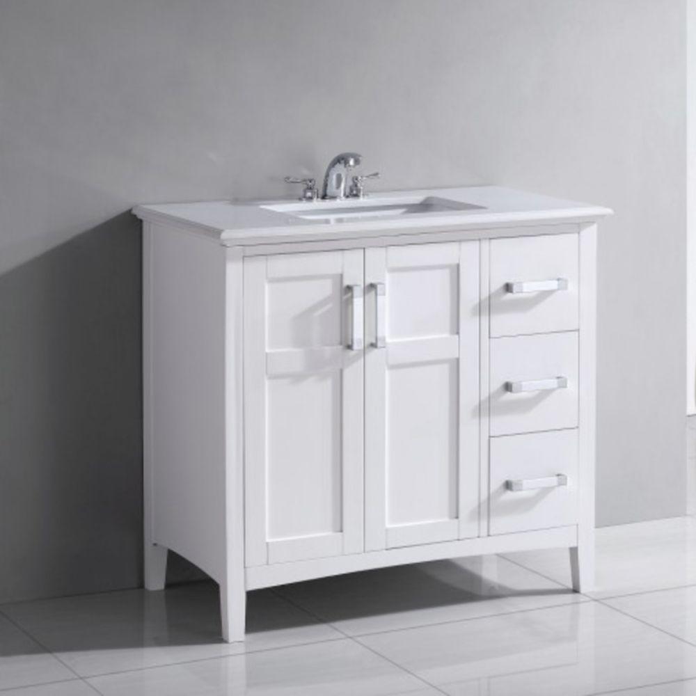 Meuble-lavabo Winston de 36 po, blanc doux