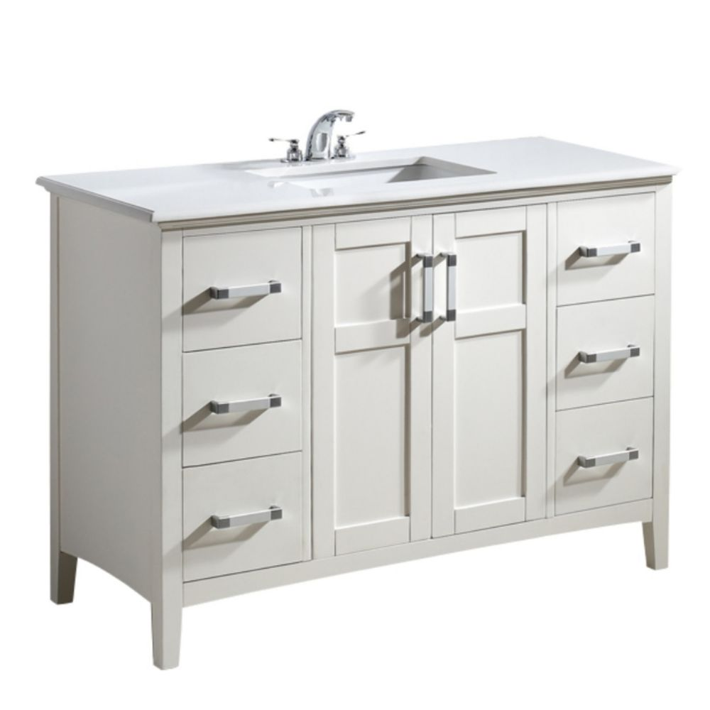 winston 49 inch white bath vanity with quartz marble top nl winston wh 48 2a canada discount. Black Bedroom Furniture Sets. Home Design Ideas
