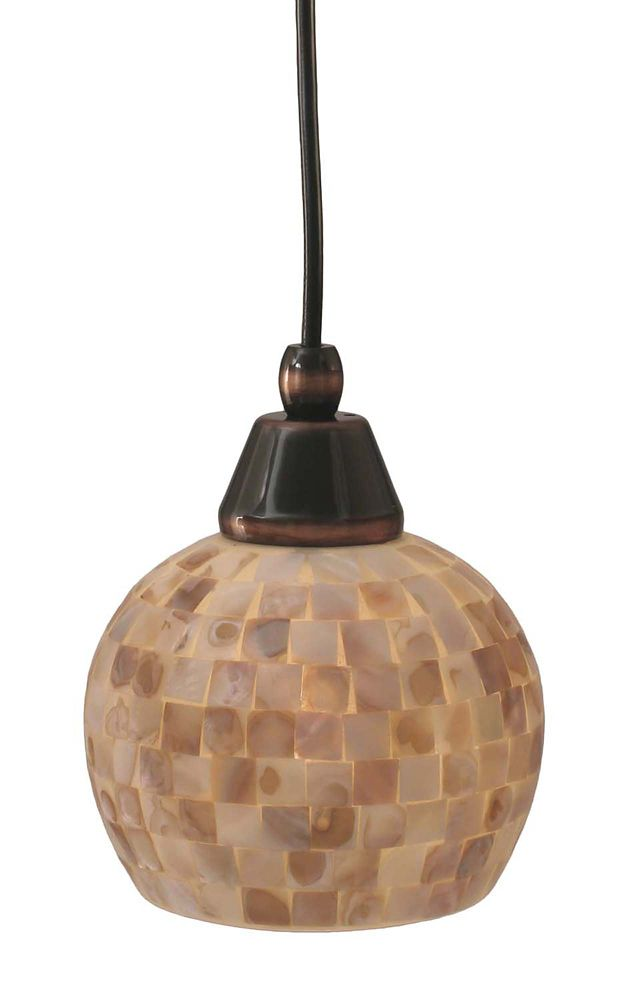Concord 1 Light Ceiling Black Copper Incandescent Pendant with a Seashell Glass