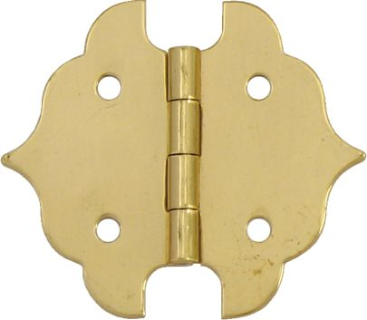 1-1/8 Inch  Solid Brass Ornamental Hinge 2pk