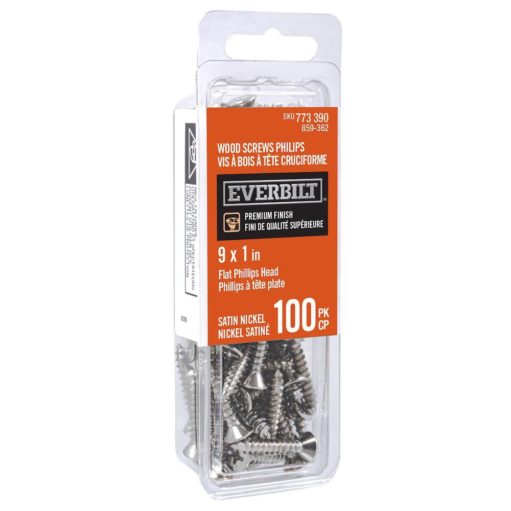 #9x1 Inch  Satin Nickel Wood Screw Phillips 100pk