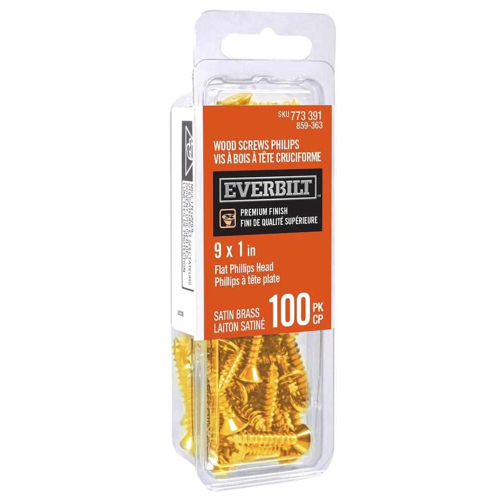 #9x1 Inch  Satin Brass Wood Screw Phillips 100pk
