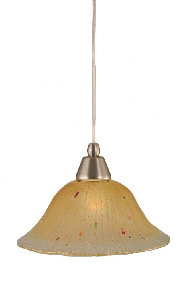 Concord 1-Light Ceiling Brushed Nickel Pendant with an Amber Glass