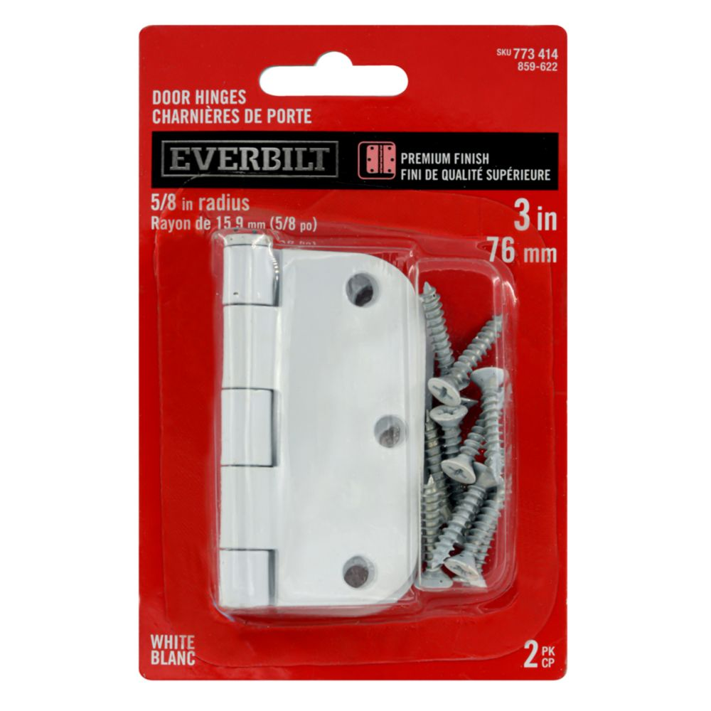 3 Inch  White 5/8rd Door Hinge 2pk