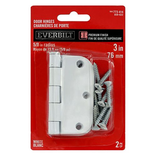 Everbilt 3-inch White 5/8rd Door Hinge (2-Pack)