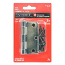 Everbilt 3-inch Antique Brass 1/4rd Door Hinge (2-Pack)