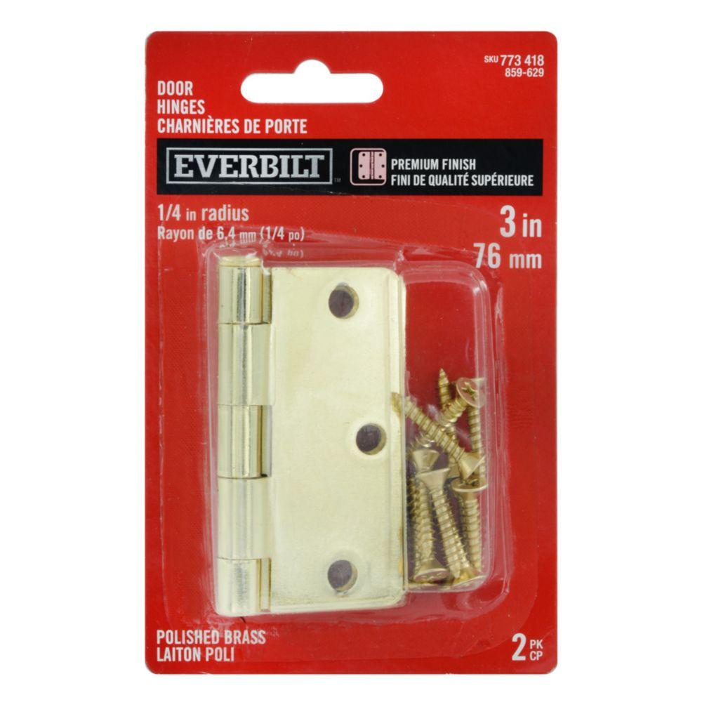 3 Inch  Polished Brass 1/4rd Door Hinge 2pk