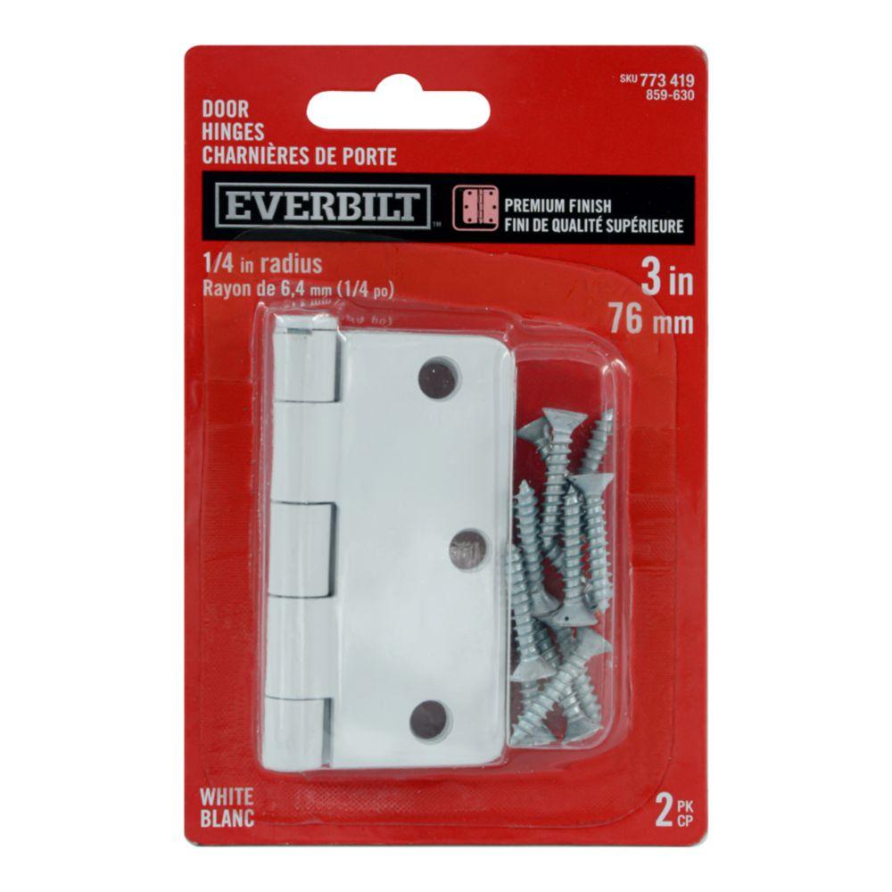 3-inch White 1/4rd Door Hinge (2 Pack)