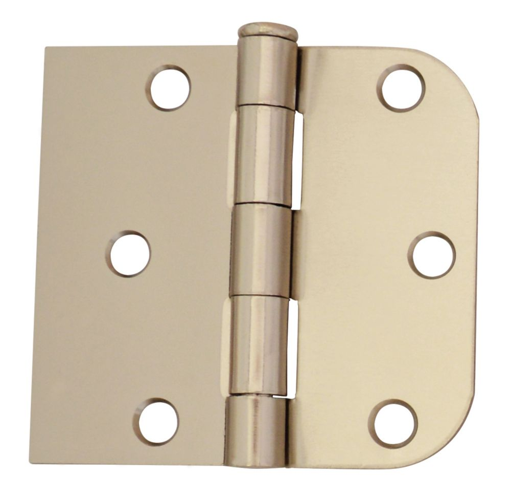 3 Inch X3-3/16 Inch  Bright Nickel Rev Door Hinge 2pk