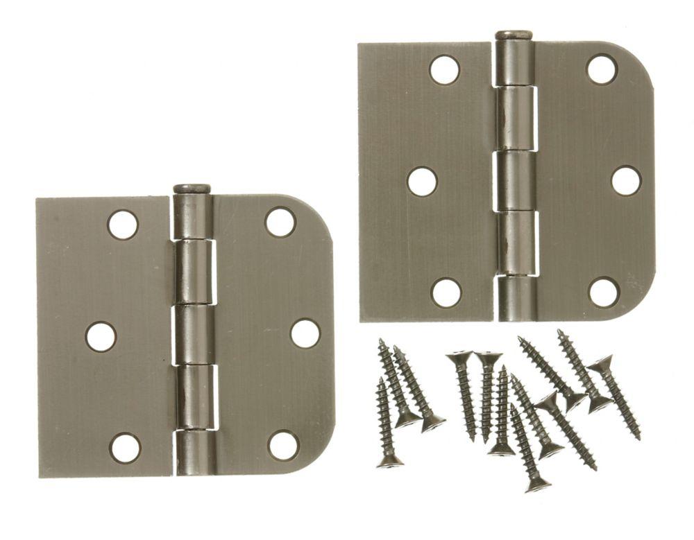 3 Inch X3-3/16 Inch  Antique Pewter Rev Door Hinge 2pk