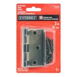 Everbilt 3-inch x 3 3/16-inch Antique Brass Door Hinge (2-Pack)
