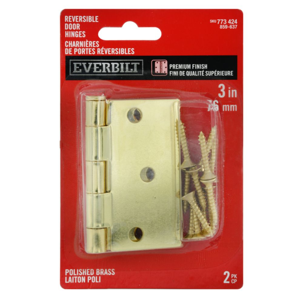 3-inch x 3 3/16-inch Polished Brass Door Hinge (2 Pack)