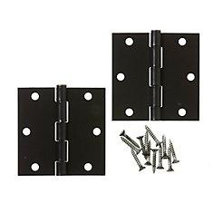 3 1/2-inch Iron Black Door Hinge (2 Pack)