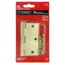 Everbilt 3 1/2-inch Polished Brass Door Hinge (2-Pack)