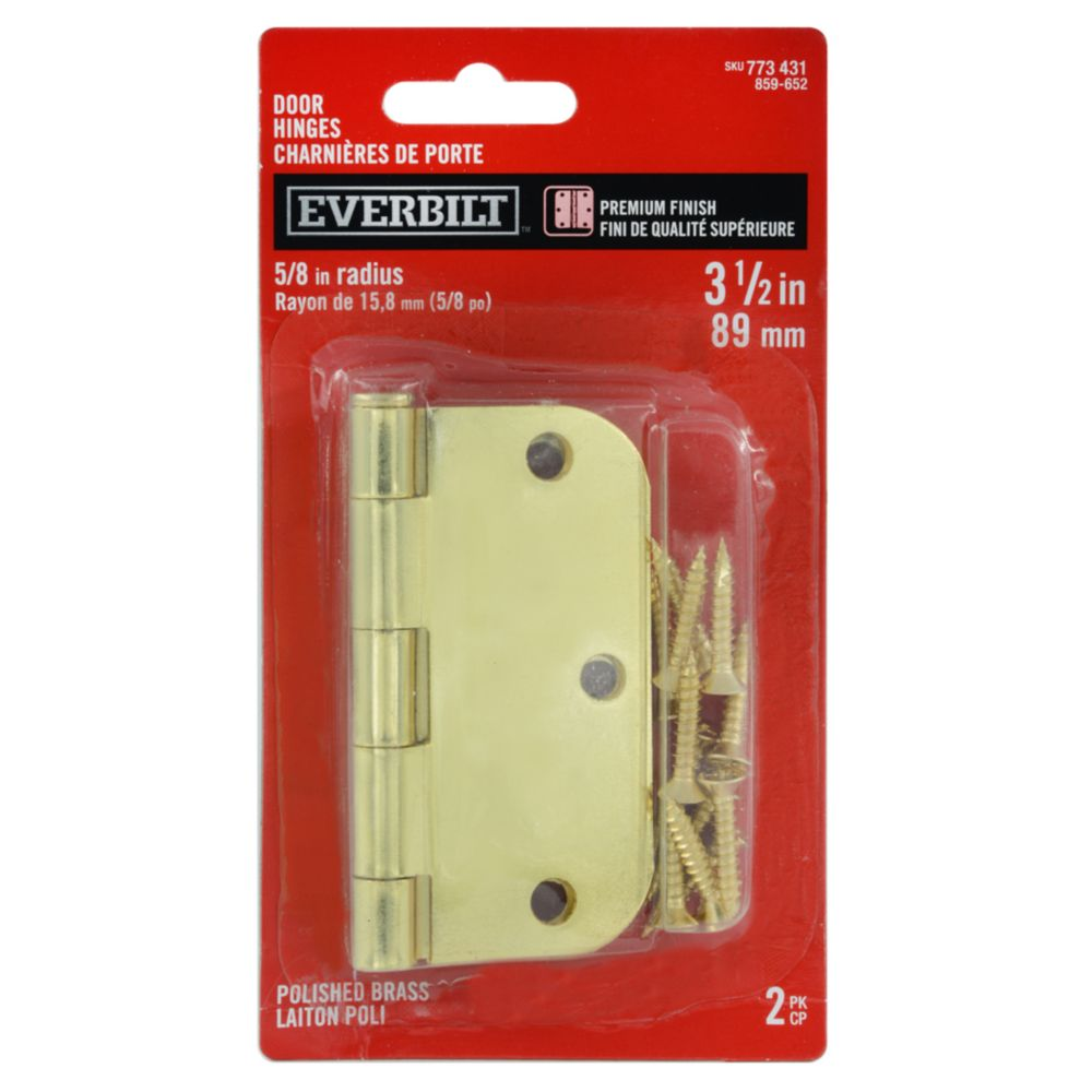 3 1/2-inch Polished Brass 5/8rd Door Hinge (2 Pack)