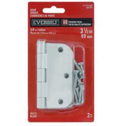 Everbilt 3 1/2-inch White 5/8rd Door Hinge (2-Pack)