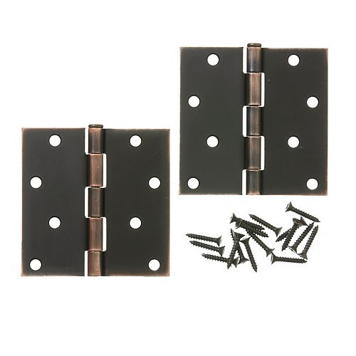 Everbilt 4-inch Aged Bronze Door Hinge (2-Pack)