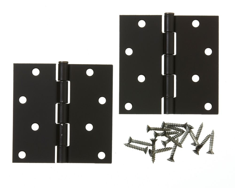 4-inch Iron Black Door Hinge (2 Pack)