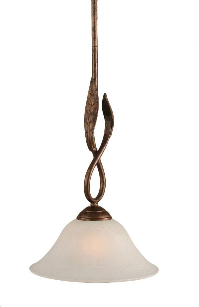 Concord 1 lumière au plafond Bronze Pendeloque à incandescence avec un verre de marbre blanc