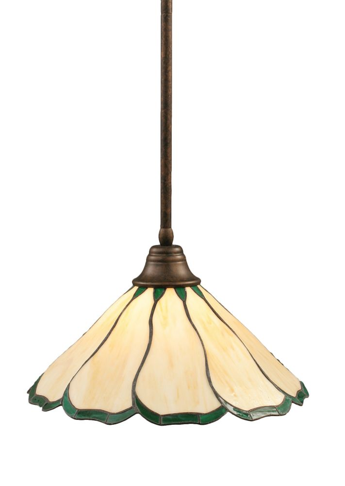 Concord 1 Light Ceiling Bronze Incandescent Pendant with a Honey and Green Tiffany Glass