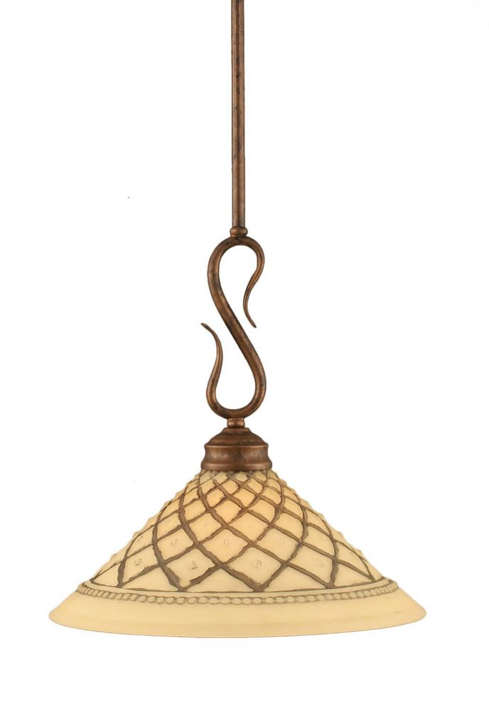 Concord 1-Light Ceiling Bronze Pendant with a Chocolate Icing Glass