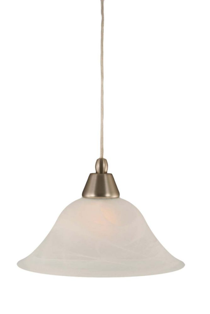 Concord 1 Light Ceiling Brushed Nickel Incandescent Pendant with an Alabaster Glass