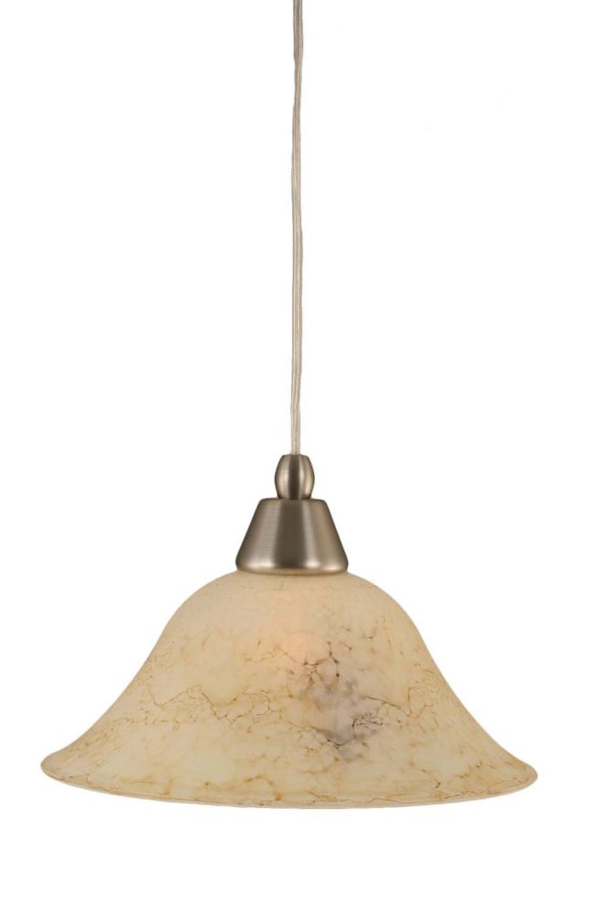 Concord 1 Light Ceiling Brushed Nickel Incandescent Pendant with an Italian Marble Glass